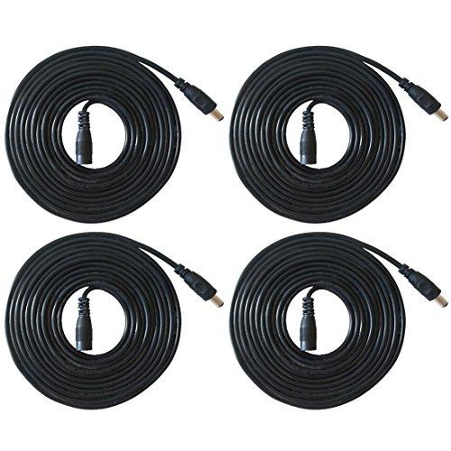 Liwinting 4 Piezas 2m Cable de Extensión 2.1mm x 5.5mm Plug DC Macho a Hembra Conector para Adaptador de Corriente, LED, Cámara CCTV Potencia, Coche, Monitores y Más, Flexible - Negro