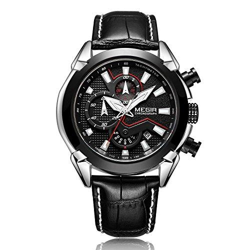Megir uomo sport militare orologio da polso al quarzo, analogico impermeabile pilota multifunzione in pelle luminosa cronografo orologi da polso, orologi da donna casual