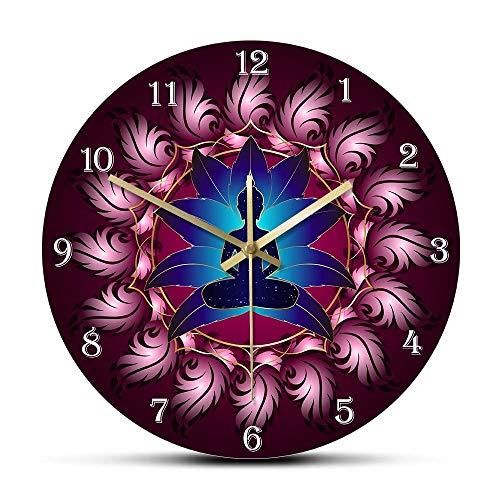 NIGU Reloj de pared con diseño de chakras de energía de curación de Buda en Lotus Mandala Flower Yoga Art decorativo silencioso reloj de pared budismo Home Deco regalos para hombres