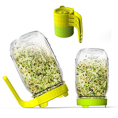 Sprouting Lids, 6 Pack Sprout lids for Growing Bean Sprouts, Broccoli, Alfalfa, Salad Sprouts, Easy Rinse and Drain Plastic Sprouting Kits for Wide Mouth Mason Jars