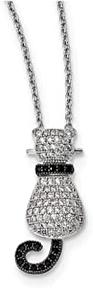 """Lex & Lu Sterling Silver & CZ Brilliant Embers Polished Cat Necklace 18"""""""