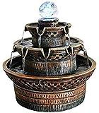 Fuente de agua creativa para interiores, jardín de casa, fuentes de interior, fuente de agua de mesa, cascada de 3 niveles con bola de cristal rodante, bomba eléctrica y sonidos relajantes para la dec