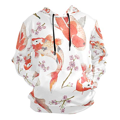 ZZKKO Chinese and Japanese Style Fish with Flower Pullover Sweatshirts for Women Winter Thin T-Shirt Hooded Size M