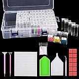 Hongyans 317 Pcs Herramientas de Pintura de Diamante 5D Accesorios de Bordado de Diamante DIY con 64 Cajas de Almacenamiento Diamante, Pluma, Bandeja, Pinzas, Pegamento de Arcilla