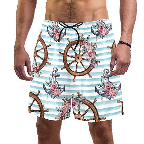 Eslifey - Pantalones cortos de playa, diseño náutico, diseño floral, ancla y ramo de flores, bañador elástico para hombre multicolor XL
