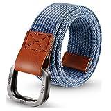 ITIEZY Men's Canvas Belt Cloth Belt Double D Ring Buckle Belt for Men Casual Sports Webbing Belt