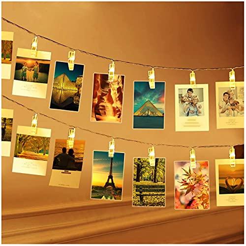 Luci Per Foto, 3M 20 Clip Lucine Led Decorative Per Camere Filo Per Foto Con Mollette Luci Led Foto Clip Filo Appendi Foto Per Matrimonio Compleanno