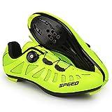 QAL Hombre Mujer Zapatillas de Ciclismo Transpirables para Bicicleta de Carretera Zapatillas de Ciclismo MTB con Cordones rápidos Compatible con Tacos SPD Green-44