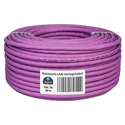 HB-DIGITAL 50m cat.7A Netzwerkkabel LAN Verlegekabel AWG 23/1 Lila Cable cat 7 Kupfer Profi S/FTP PIMF LSZH Halogenfrei RoHS-Compliant Cat7a cat.7 a Ethernet Datenkabel 10Gbit 1000MHz 10 Gigabit
