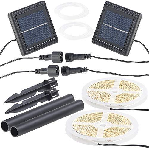 Lunartec Solar Lichterkette: 2er-Set Solar-LED-Streifen mit 180 warmweißen LEDs, wetterfest IP65 (Solar LED Strip)