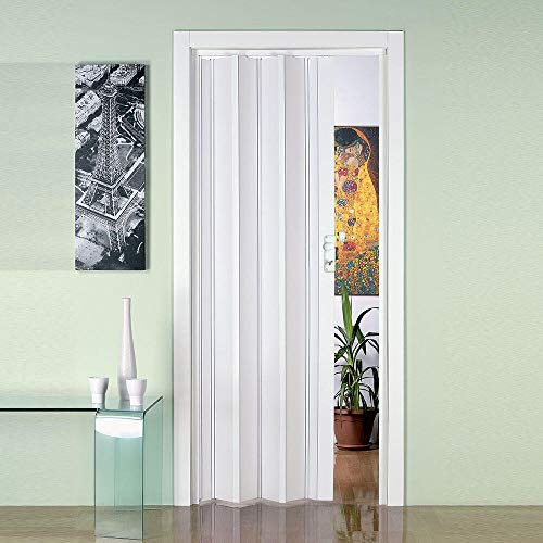 Porta a Soffietto da Interno 88,5x214 cm in PVC Saba Jasmine Bianca Pastello