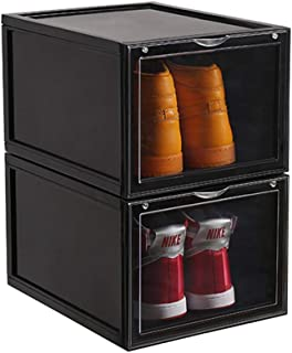 Shozafia Shoe Storage Boxes Clear Stackable Drop Front, Plastic Sneaker Storage Bin Organizer, Display Container, Magnetic Lock, 2 Pack