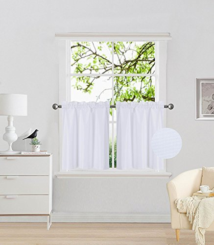 """Elegant Home 2 Panels Tiers Small Window Treatment Curtain Insulated Blackout Drape Short Panel 28"""" W X 24"""" L Each for Kitchen Bathroom or Any Small Window # R16 (White)"""