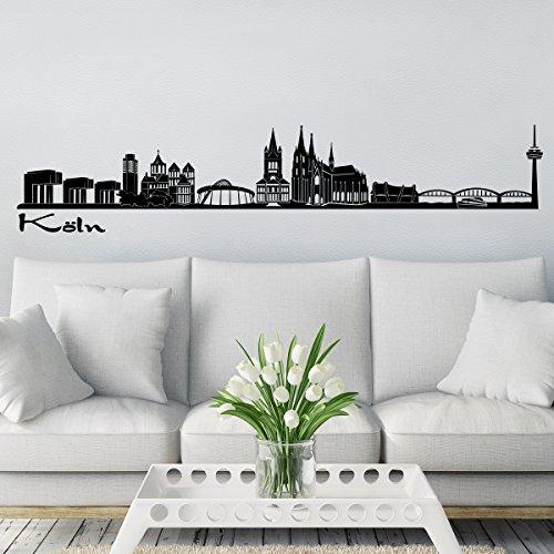 Wandkings Skyline - Deine Stadt wählbar - Köln - 125 x 20 cm - Wandaufkleber Wandsticker Wandtattoo