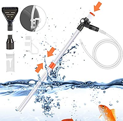 Aquarium Gravel Cleaner Fish Tank Vacuum Gravel Cleaner Kit with Air-Pressing Button for Water Changing, Sand Washing, Absorption of Feces