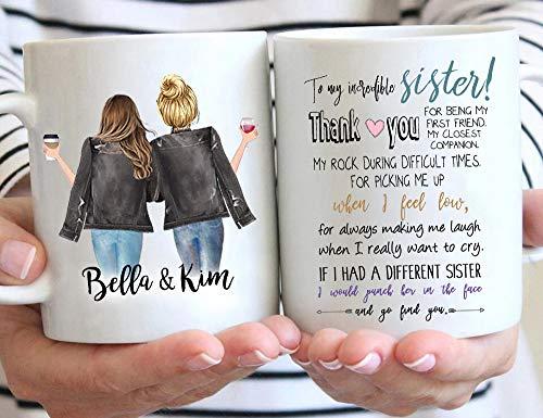 Custom Sister Mug from Sister, Sister Coffee Mug with Names, Personalized Sisters Cups, Christmas or Birthday Gifts for Sister from Sister, Sister Moving Away Mug, 11 or 15 Oz