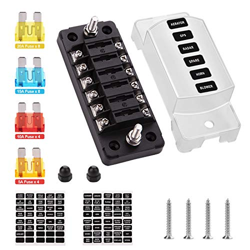 6 Circuit Fuse Block - iGreely 6-Way ATC/ATO Fuse Holder, with Protection Cover for Vehicle Car Boat Marine Automotive