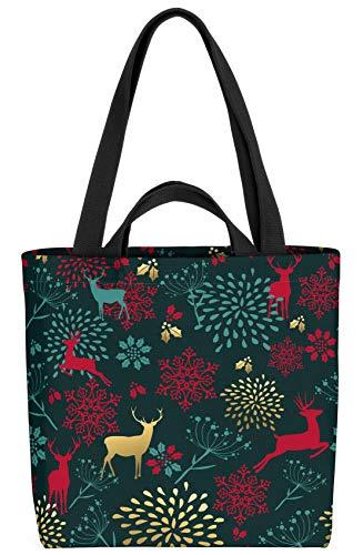 VOID Wald Deko Winter Hirsch Tasche 33x33x14cm,15l Einkaufs-Beutel Shopper Einkaufs-Tasche Bag
