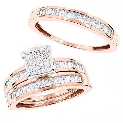 Anello trio di fidanzamento placcato in oro rosa 14 K con baguette D/VVS1 con due fasce abbinate, per lui e per lei 1,60 ct