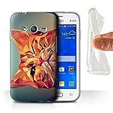 Coque pour Samsung Galaxy Trend 2 Lite/G318 Animal Géométrique Faune Chat Roux Désign Transparent Doux Silicone Gel/TPU Souple...