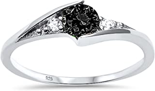 Oxford Diamond Co Sterling Silver New Round Simulated Gemstone Solitaire Fashion Ring Sizes 3-10