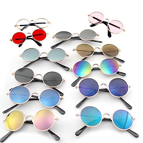 Kaimeilai 12PCS occhiali da sole per animali domestici, per cani, gatti, rotondi, in metallo, stile retrò, occhiali da sole, occhiali da sole per animali domestici, per cosplay e feste