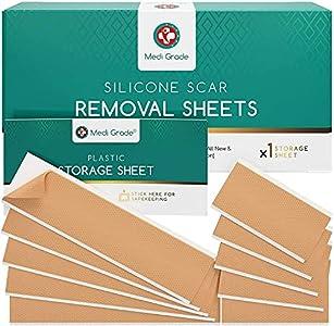 Parches para Cicatrices [11 unidades] de Medi Grade – Tiras Reutilizables para Reducción de Cicatrices, Grandes/Pequeñas – Eliminación de Cicatrices Rápida y Eficaz para Cesáreas, Queloides