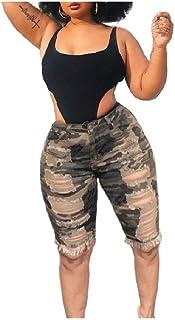 HEFASDM Womens Ripped Hole Bermuda Camouflage Tassel Denim Jean Shorts