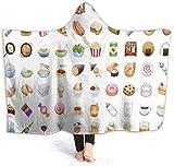 hgdfhfgd Manta con Capucha Food Emoji Wearable Super Soft Fleece Blanket para niños/Adultos fashion1505
