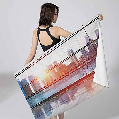 Beach Bath Towel Office,Modern City View with Skyscrapers Vibrant Sunset River Empty Place Art Black White and Orange Unisex -Quick Dry 27x55 inch