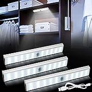 Bojim 30 LED Licht 3er LED Schrankbeleuchtung Dimmbar Mit Bewegungsmelder, 3W Wiederaufladbar, 3m Schaltabstände, Weiß 350lm Unterbauleuchte Küche, Magnetstreifen Schrankleuchte Schranklicht Kabellos