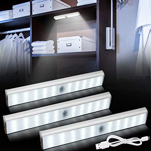 Bojim Iluminación de gabinete LED de 3 piezas regulable con detector de movimiento, recargable de 3 W, distancias de conmutación de 3 m, blanco 350lm 30 LED bajo, luz de tiras magnéticas, inalámbrica