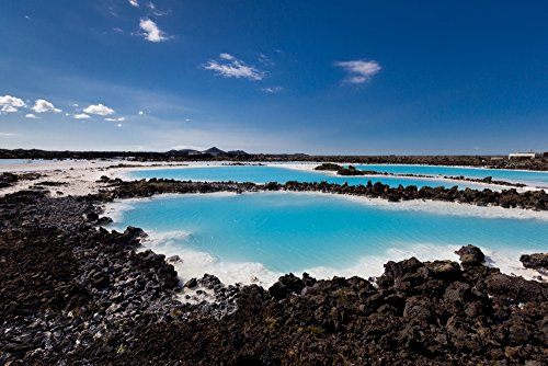 Panoramic Images – Silica deposits in Water by The Svartsengi Geothermal Power Plant Near The Blue Lagoon Bathing Pools Iceland Photo Print (68,58 x 22,86 cm)