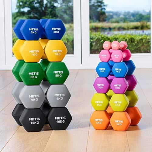 METIS Neopren Hex Hantlar [Set med 2 - Par]   0.5 KG-10 KG   Set med hantlar - Idealiskt för Styrketräning, Toning & Pilates   Träningsvikter för Gym/Hemmaträning   10kg