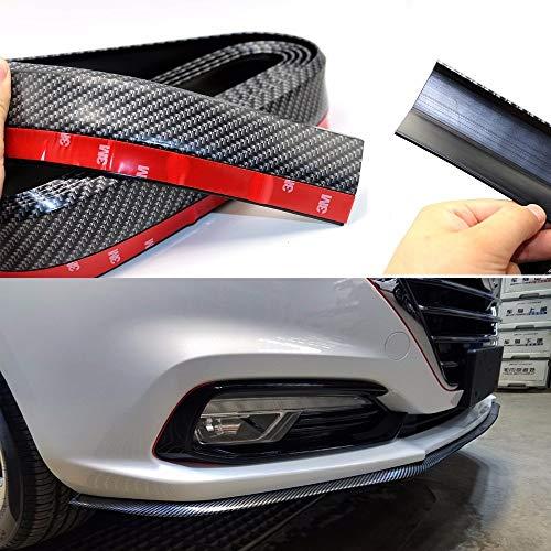 Protección contra automóviles Coche Parachoques Universal Frente Esperadores de labios de 2,5 m / 8.2 pies 50 mm de ancho Fibra de carbono de caucho Exterior de la tira de caucho Faldas laterales