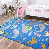 The Rug House Vie Aquatique Animal Poisson Baleine Gris Bleu sous la mer Nautique Coloré Enfants Espcae Jeux au Sol