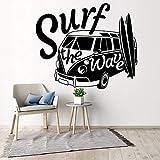 Modern Wall Decal surfear la ola con camper car wall sticker Old Vintage Auto Car Wall mural Vinyl...