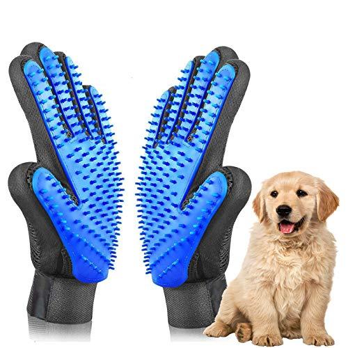 ETHEL Guante de Mascotas, Guantes Manopla Masaje, Guante de Mascotas Quita Pelos, para Perros y Gatos con Pulseras de Velcro Ajustables para un Mejor Ajuste (Azul)