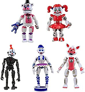 Set of 5 pcs FNAF Action Figures - Toys Dolls Gifts Cake Toppers, 6 inches - Set of 5 pcs [Funtime Freddy, Circus Baby, En...