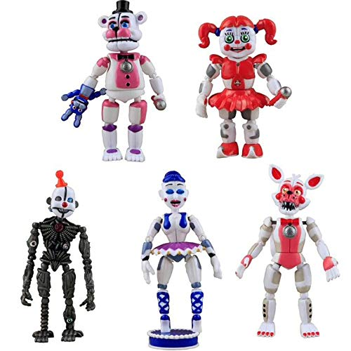 Valibe Set of 5 pcs FNAF Action Figures - Toys Dolls Gifts Cake Toppers, 6 inches - Set of 5 pcs [Funtime Freddy, Circus Baby, Enard, Belora, Funtime Foxy]
