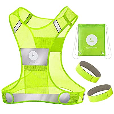 RoadRunner New 360° Reflective Running Vest Gear for Men and Women – Visibility Vest with Pocket, Bands, and Bag for Night Running, Motorcycle, Walking, and Cycling (Yellow, S/M)