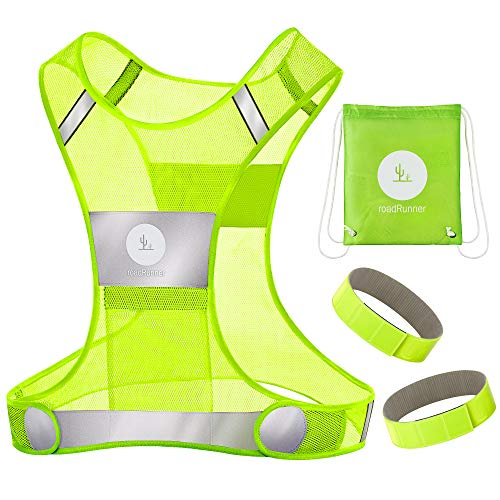 RoadRunner New 360° Reflective Running Vest Gear for Men and Women – Visibility Vest with Pocket, Bands, and Bag for Night Running, Motorcycle, Walking, and Cycling (Yellow, L/XL)