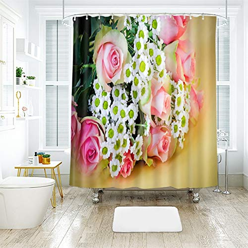llk Ducha de Ducha de Cortina Blanco crisantemo Blanco crisantemo Hermoso baño Cortina de impresión Digital Cortina de baño