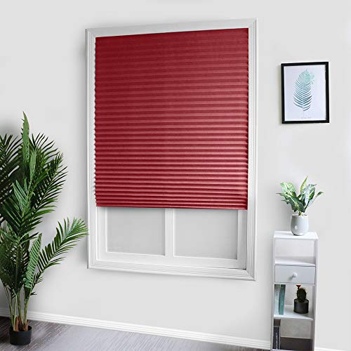 VAZON Roller Blinds, Blackout Roller Shades Cordless Window Blinds, Trim-at-Home Cordless Pleated Light Blocking Fabric Shade