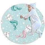 PLOKIJ Alfombra de área para niñas, habitación de niños, alfombra resistente, lavable, alfombra de dormitorio adolescente, lindo gato sirena mar