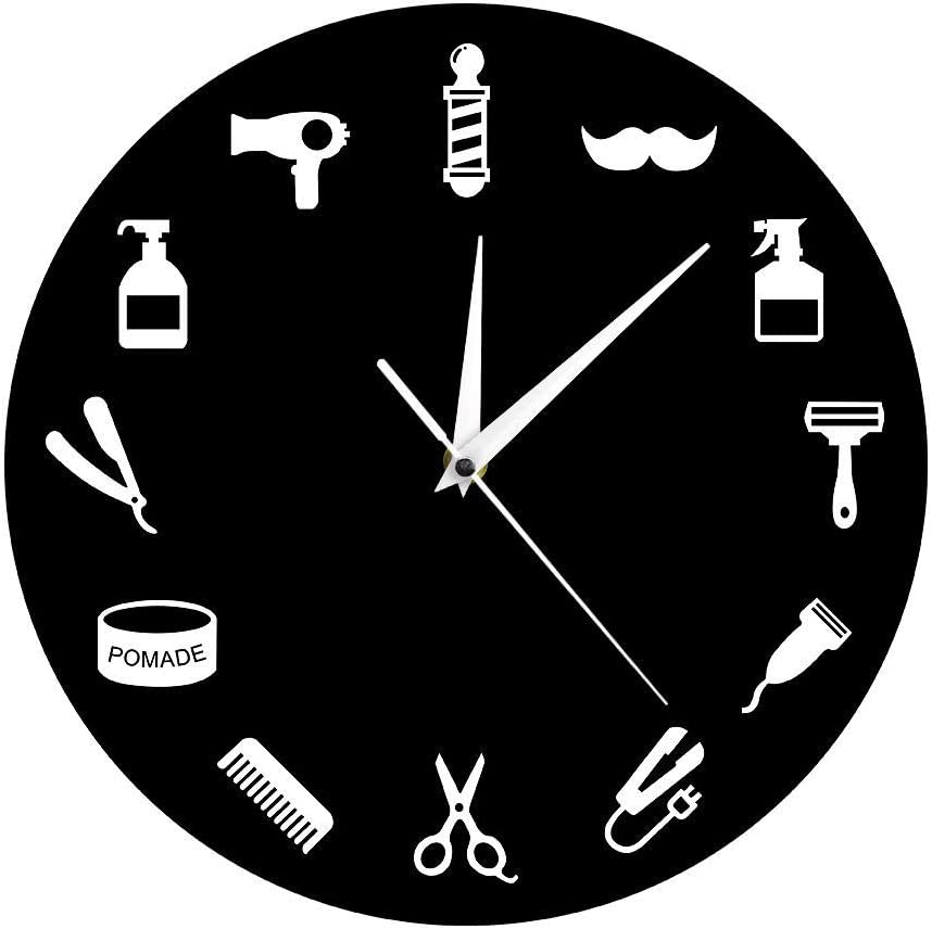 Hairstylist Business Wall Sign Barber Tools Designed Wall Clock Salon Shop Decor