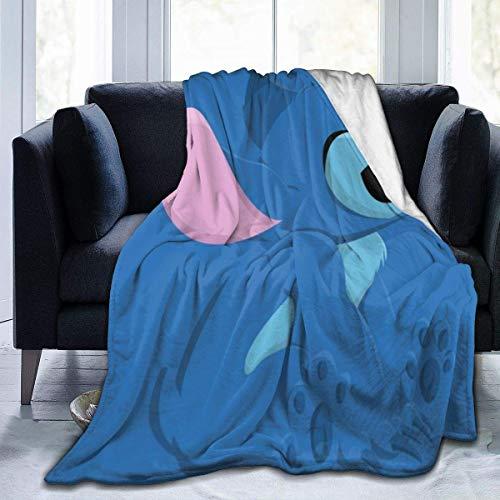 Li-lo Linda manta Sti-tch de gran tamaño, cálida manta para adultos y adultos súper suave con suave franela antipilling para adultos y niños impresión 3D de 80 x 60 pulgadas