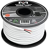 Mediabridge 16AWG 2-Conductor Speaker Wire (100 Feet, White) - 99.9% Oxygen Free Copper – ETL Listed & CL2 Rated for in-Wall Use (Part# SW-16X2-100-WH)