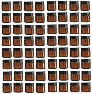 Nakpunar 64 pcs 1 oz Amber Brown Plastic Jars with Black Cap - Single wall PET