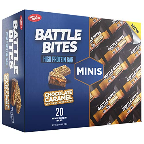 Battle Bites Minis High Protein Bar, 20 x 31 g Low Carb Protein Bars - Chocolate Caramel